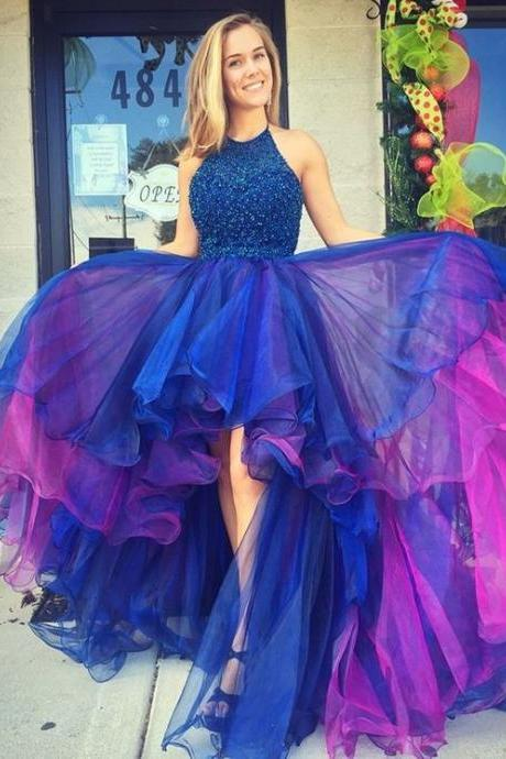 Glamorous High Low Blue Prom Dress, Ball Gown, Royal Blue Prom Dress, Beautiful Prom Dress,Sexy Formal Dress For Party,Graduation Dress,Senior Prom Dress,Charming Evening Prom Dress,