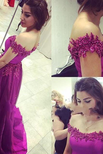 Gorgeous Prom Dress,Off the Shoulder Prom Dress, Long Tulle Lace Prom Gown, Lace Appliques Prom Dress, Fuchsia Color Prom Evening Gowns,Boat Neck Prom Dress, Women Dress,Special Occasions Dress