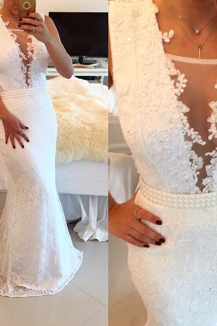 2017 White Lace Beaded Prom Dresses Sleeveless Mermaid Appliques Evening Gowns ,See Through Prom Dress,Sexy Evening Dress,Formal Prom Dress,Party Women Dress,Prom Gowns,