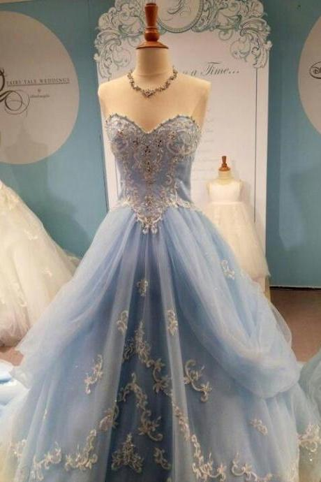Sweet Applique Baby Blue Prom Evening Formal Gowns Sweetheart Tulle Princess A Line Quinceanera Dresses for Teens