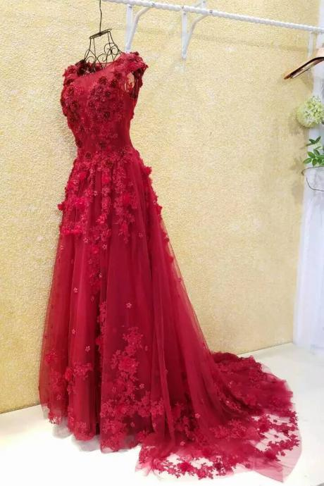 Burgundy Evening Dresses,A-line Evening Dress,Flowers Evening Dress,Applique Evening Dress,Lace Evening Dress,Cheap Evening Dress,Pearls Evening Dress,Evening Dress With Illusion Back,Gorgeous Evening Dress,Glamorous Evening Dresses