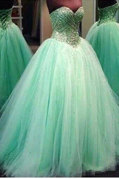 Real Image Prom Dresses Luxury Sparkle Bling Ball Gown Mint Sage Sweetheart Crystals Beads Lace Up Tulle Long Formal Evening Party Gowns Vestidos