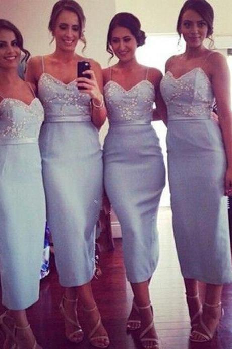Mild Bridesmaid Dress - Tea-Length Spaghetti Straps with Sash Beading