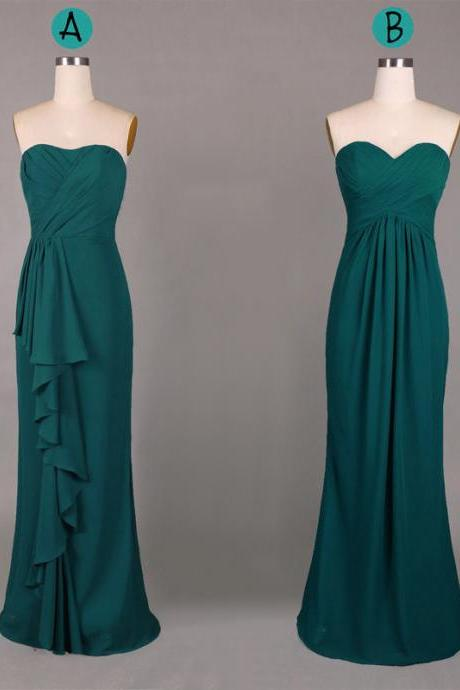 Hunter Green Bridesmaid Dresses, Sweetheart Sheath Chiffon Bridesmaid Gowns with Ruffles, Dark Green Cheap Bridesmaid Dresses