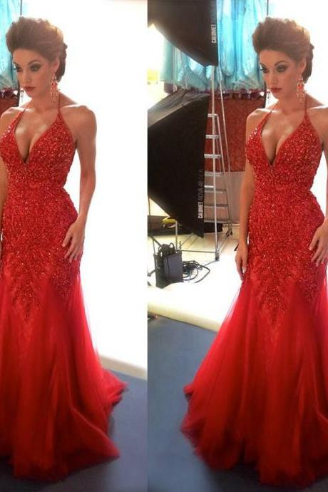 Sexy Red Mermaid Evening Dresses, V Neck Party Dresses, Beading Sequins Prom Dresses, Backless Evening Gowns, Floor Length Formal Dresses