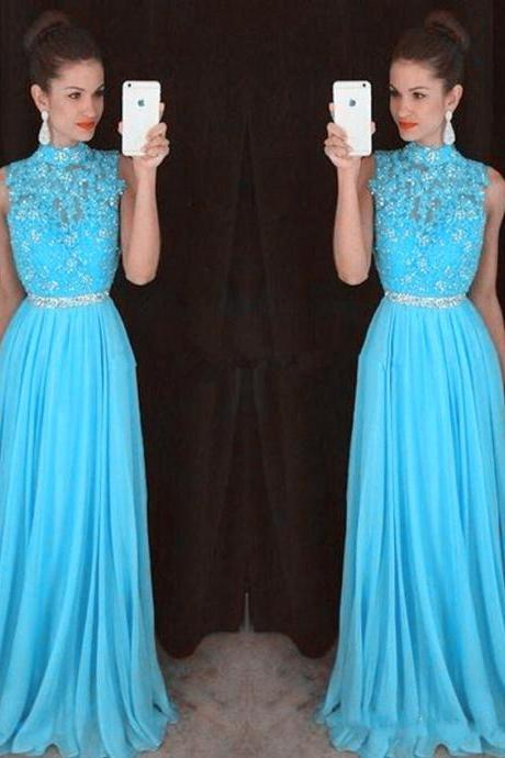 Sexy Chiffon Sky Blue Evening Dresses With Lace Applique Long Elegant Prom Dress Robe De Soiree Formal Gowns