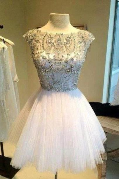 Custom Made Round Neck White Short Prom Dresses, Short Homecoming Dresses, Beaded Party Dresses, Dresses for Prom, Luulla Dresses