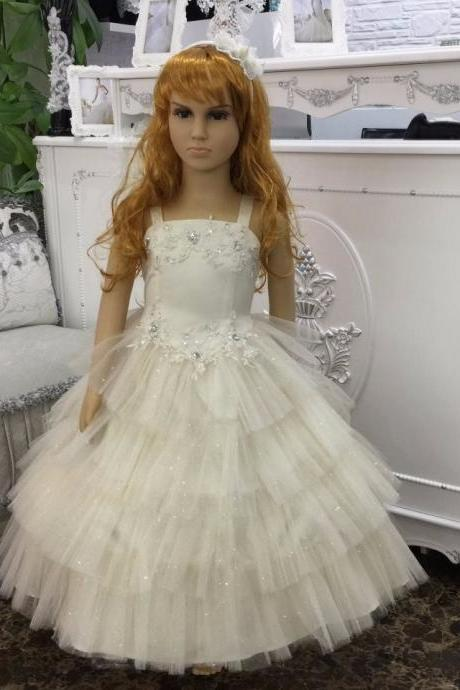Flower Girl Dress, New Flower Girl Dress, Big Bow Flower Girl Dress, New Arrival Champagne Flower Girl Dresses 2-10 Years kids dress for party girl Ball Gown stock Wholesale