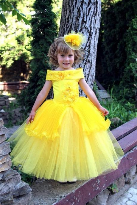 ball gown lace flower girl dresses girls pageant dresses beaded flower girl dresses for weddings tea length communionnew style yellow Flower Girl Dresses with appliques first communion dresses for girls cute pageant dresses for little girls