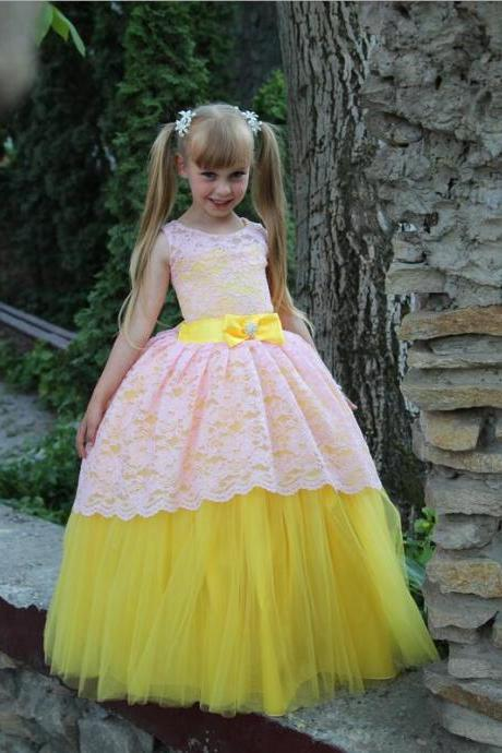 New Arrival Little Girl Ball Gown Bow Scoop Lace Pageant Floor Length Flower Girls Dresses For Children Prom Gown