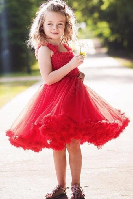 Spaghetti Straps Knee-Length A-Line Tulle With Pleat Red Flower Girl Dresses 2016 Holy Communion Dresses