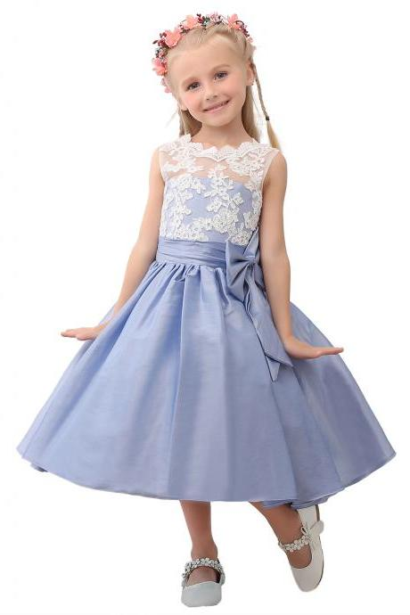Blue Flower Girl Dress, Lace Flower Girl Dress, Girls Dresses, Cheap Flower Girl Dress, Satin Flower Girl Dress, Kids Prom Gown, Pageant Little Girl Dress, First Communion Dresses