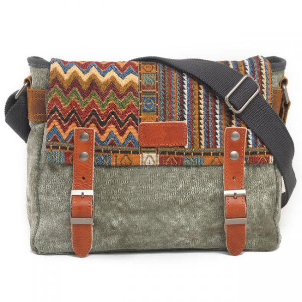 Folk Style Geometry Stripe Square Double Hasp Canvas Messenger Bag