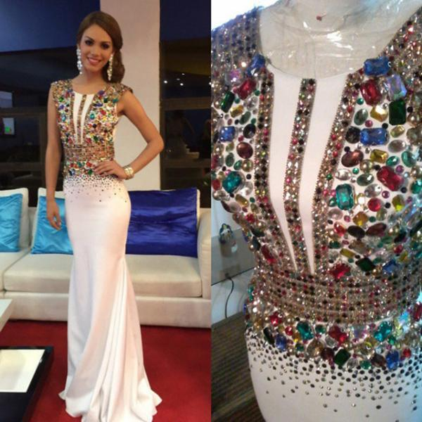 New Heavy Crystal White Satin Mermaid Evening Dresses Long 2017 Vestido De Festa Colofor Beaded Prom Dress Formal Party Gowns