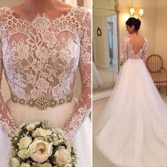 Gorgeous Lace Long Sleeves White Lo.. Gorgeous Lace Long Sleeves White Long Bridal Gown with V Back