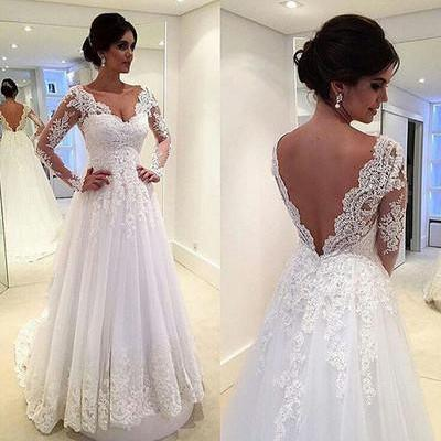 Long Sleeves V-neck Wedding Dress backless wedding dress white weddingdress lace wedding dress