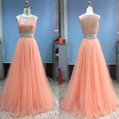 Amazing 2016 Peach A line Two Pieces Prom Dresses Rhinestones Crystal Beaded Tulle Pleated Sheer Neckline Evening Dresses Formal Dresses Pageant Dress 2016