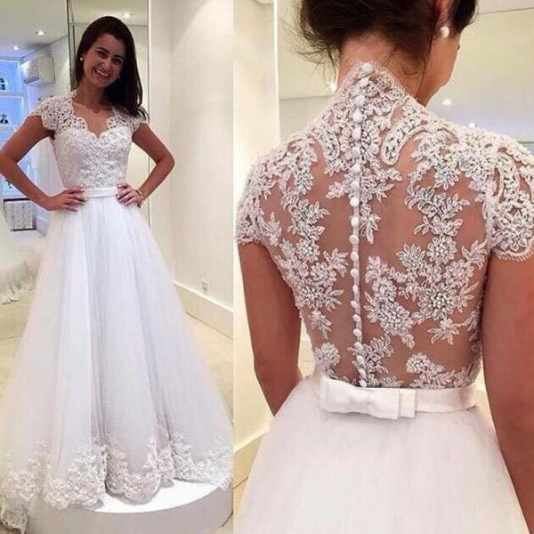 Wedding Dresses,A-line Wedding Dresses,Wedding Dress,2016 Wedding Dresses,Appliques Wedding Dress ,White Wedding Dress,Wedding Dress V-neck,Wedding Dresses Plus Size,Wedding Dresses Custom,See Through Wedding Dress