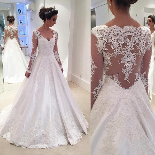 Custom Made White Long Sleeve Lace A-Line Floor Length Wedding Dress