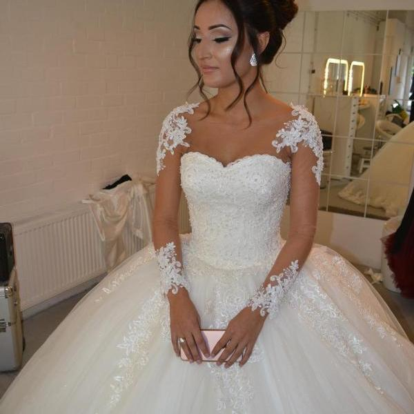 Wedding Dresses, Wedding Gown,Bling Beading Sequin Sweetheart A Line Princess Wedding Dresses Lace Appliques 2017 Sexy
