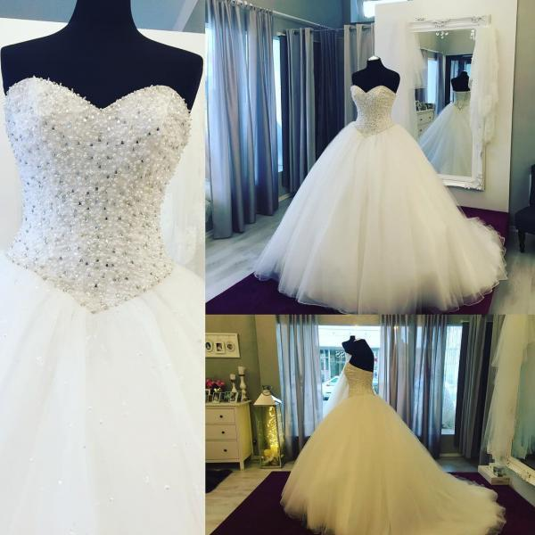Wedding Dresses, Wedding Gown,Fully Crystal Beaded Sweetheart Ball Gowns Wedding Dress 2017