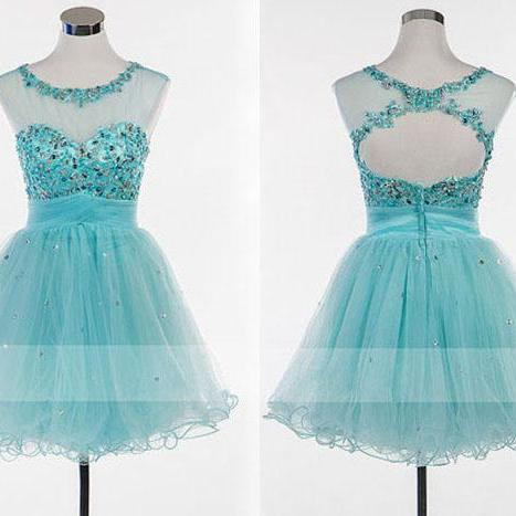 short prom dress, blue prom dress, lovely prom dress, open back prom dress, homecoming dress, junior prom dress, cheap prom dress, party dress