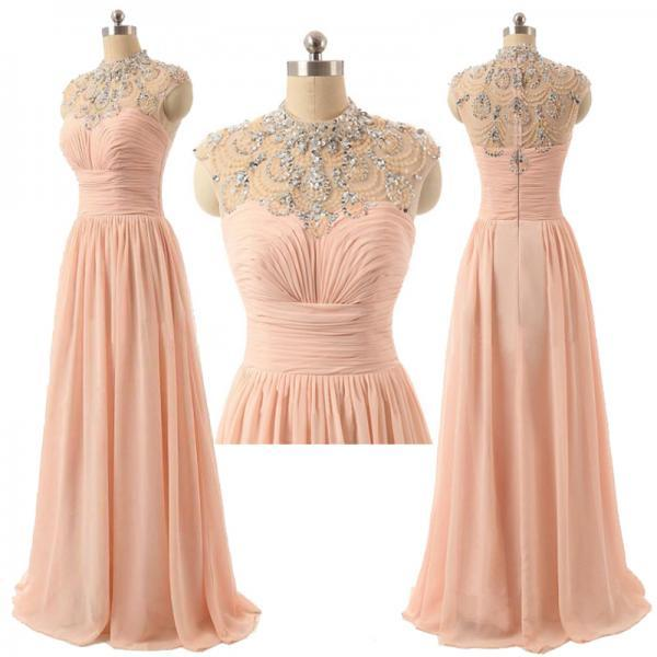 Long Chiffon A-Line Prom Dress Featuring Beaded High Neck Bodice with Cap Sleeves