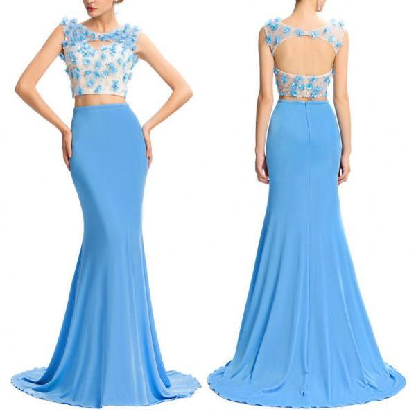 Blue Two-Piece Floor Length Prom Dress Featuring Floral Appliqués and Beaded Embellishments Jewel Neck Crop Top