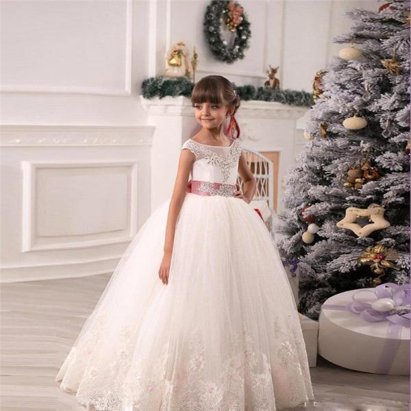Children Dress,Flower Girls Dresses,Kids Dress,Child Clothing,Girl Brithday Party Dress,Princess Dress,Girl Party DressJunior Bridesmaid Dress Baby Girl Lace Applique Flower Girl Dress, A line floor length Crystal Bowknot Dress