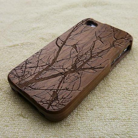 Wood iPhone 4S case, iPhone 4 case, wood iPhone 4 case, birds on branches iPhone 4S case, bird iPhone 4 case, wooden iPhone case