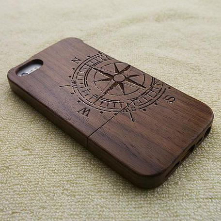 Wood iPhone 5 case, iPhone 5S case, wooden iPhone 5 case, Compass iPhone 5S case, wooden iPhone case