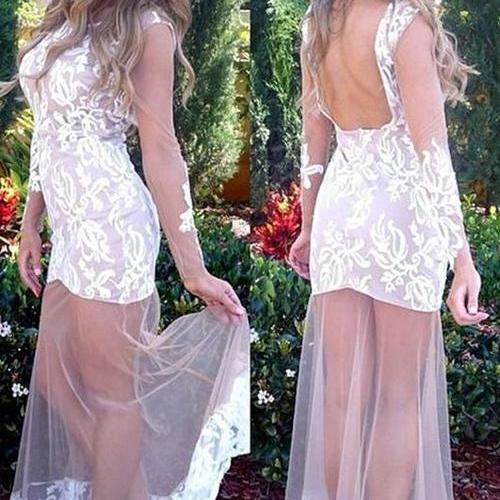 Backless Prom Dress,White Prom Dress,Unique Prom Dress ,Scoop Prom Dress,Long Sleeveless Party Prom Dresses ,Evening dresses, Prom Dresses,Long Prom Dresss,Homecoming Dress,