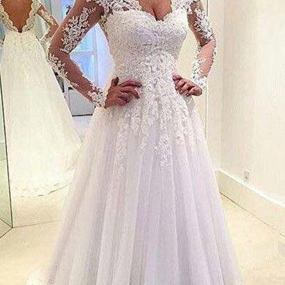 Latest design wedding dress, lace wedding dress, long sleeve wedding dress, vintage wedding dress, bride wedding gown, long wedding dressWhite Wedding Dresses,Sexy Wedding Dresses,Wedding Dress