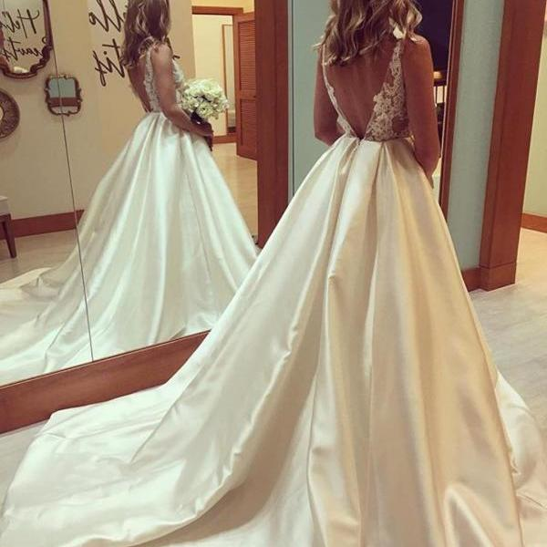 Wedding Dresses,Lace Wedding Gowns,Bridal Dress,Wedding Dresses, Wedding Gown,Princess Wedding Dresses elegant lace appliques open back satin ball gowns wedding dresses