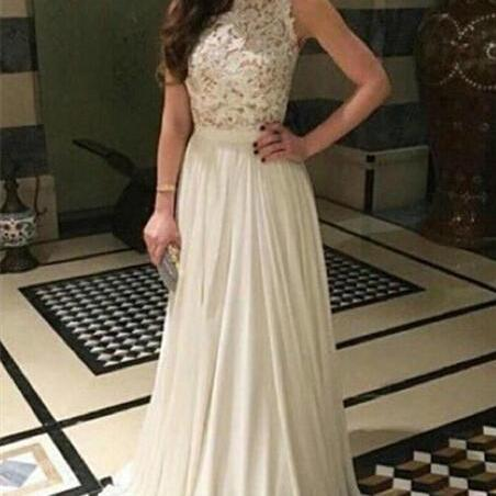 Beautiful Handmade White Long Chiffon Prom Dress with Lace Applique, White Prom Gown, Prom Dresses