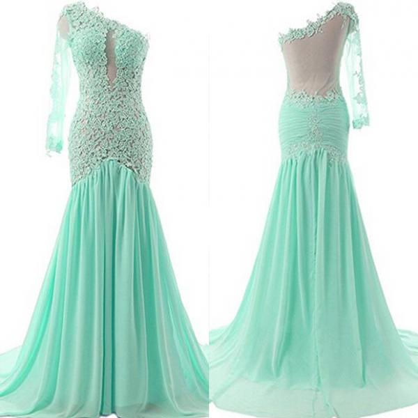 Women's One Shoulder Prom Dress Sexy Mermaid Evening Dress Chiffon Party Gown with Lace Appliques