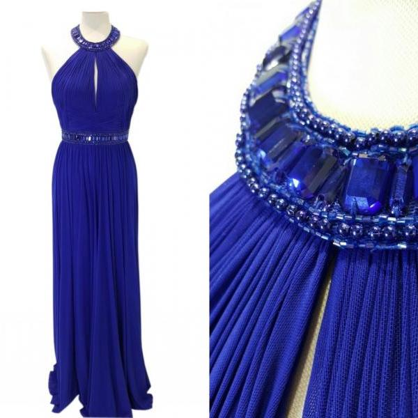 Halter Neck Blue Long Chiffon Evening Dresses Backless Floor Length Party Dresses Tailor Made Women Dresses