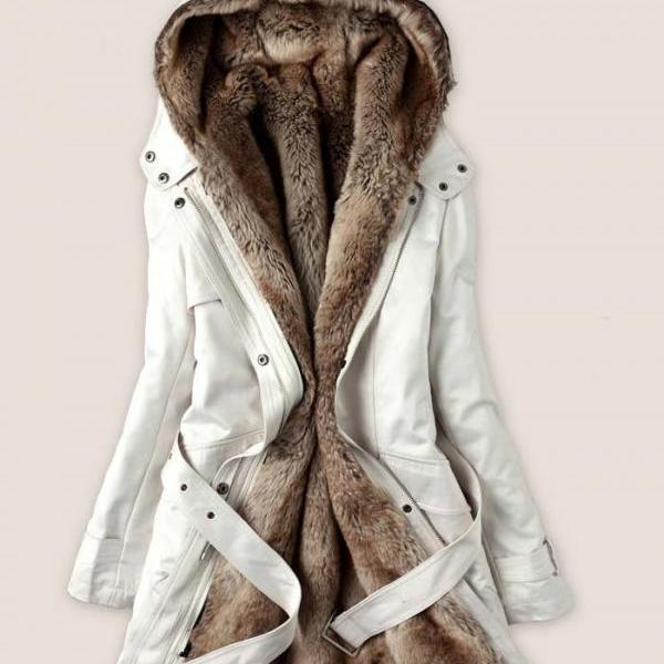 Fashion white ice cream color Faux Fur Lined Coat