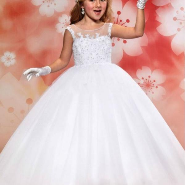 Princess White Ball Gown Flower Girl Dresses for Weddings Lovely Girls Pageant Dresses First Communion Dresses for Girls Kids