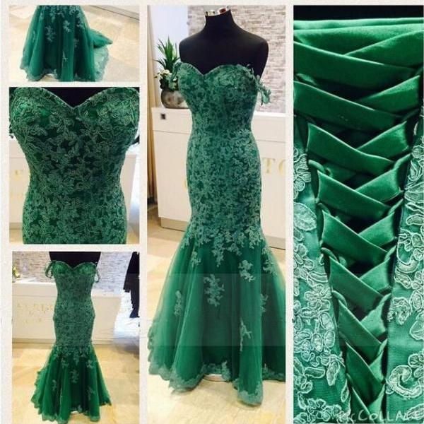 Amazing Hunter Green Tulle Off The Shoulder Lace Applique Formal Dresses-Evening Gowns, Prom Dress