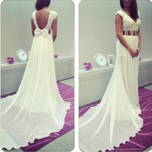 V Neck Sexy Backless Evening Dress, Bow Cap Sleeves Chiffon New Arrival Prom Dress, Plus Size Formal Gown with Gold Belt,Long Wedding Dresses
