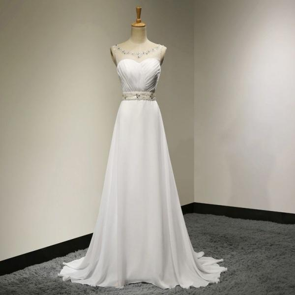 Sexy Women Beaded Formal Dresses White Chiffon Evening Party Gonws With Illusion Jewel Neckline